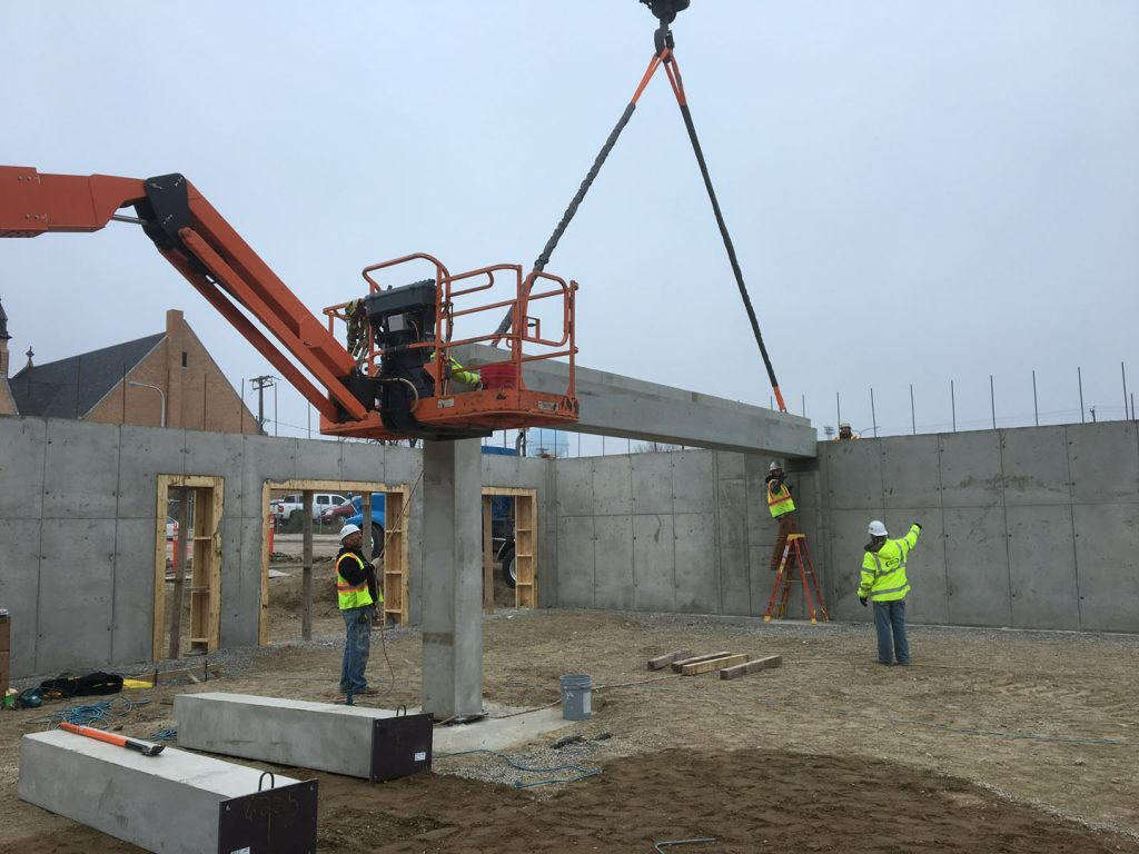 Setting precast concrete beams